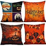 HOSL PW02 4-Pack Happy Halloween Cotton Linen Square Burlap Decorative Throw Pillow Case Cushion Cover Spider Moon Bat Pumpkin