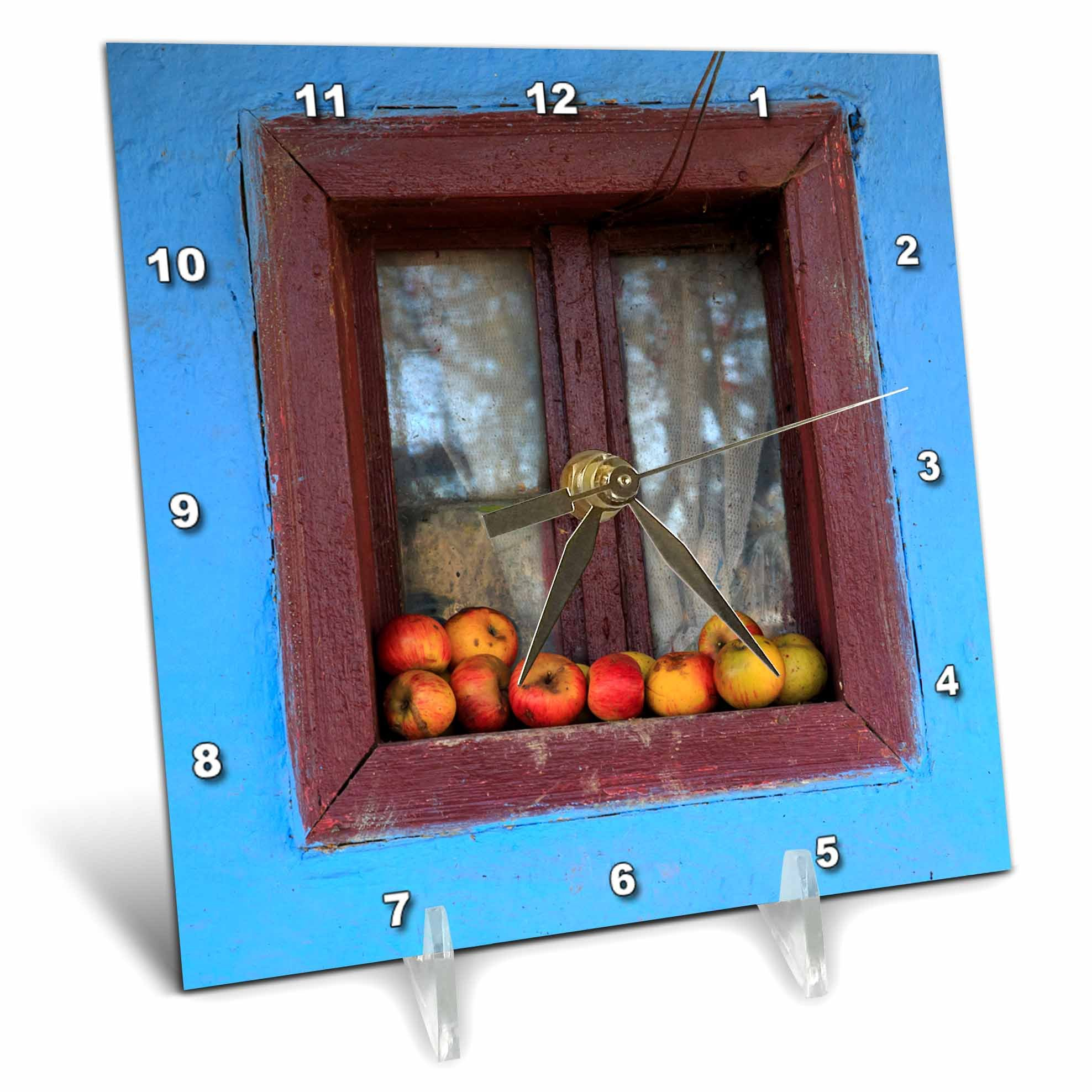 3dRose Danita Delimont - Food - Romania, Dobricu Lapusului. Typical farm house, Window with apples. - 6x6 Desk Clock (dc_277876_1)
