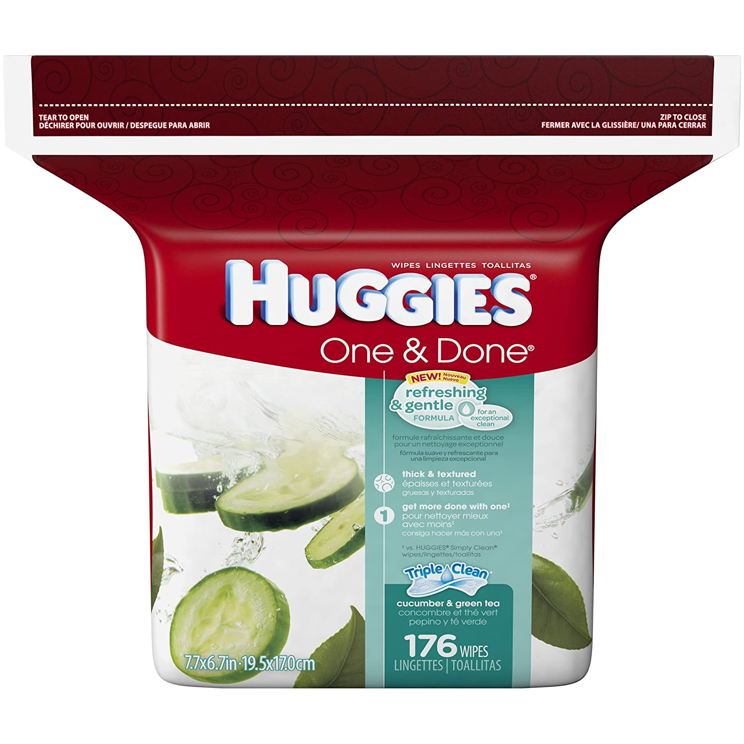 Amazon.com : Huggies One & Done Refreshing Cucumber & Green Tea Baby Wipes, Refill (176 count) : Baby