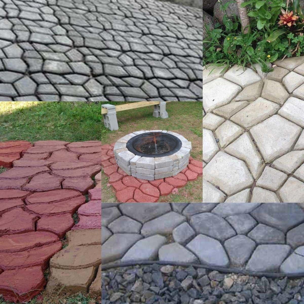 TC-Home 2pcs Pathmate Stone Mold Driveway Paving Brick Patio Mold Concrete Slabs Path Garden Walk Maker 43cm x 43cm