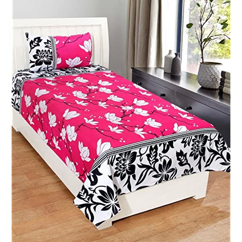Homefab India 3D Economy 140 TC Polycotton Single Bedsheet With Pillow  Cover   Modern, Pink
