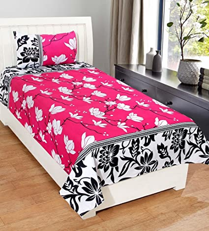 Superb Homefab India 3D Economy 140 TC Polycotton Single Bedsheet With Pillow  Cover   Modern, Pink
