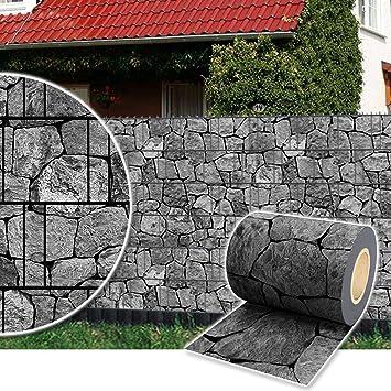 Plantiflex Sichtschutz Rolle 35m Blickdicht PVC Zaunfolie Windschutz Für  Doppelstabmatten Zaun (Stein Anthrazit)