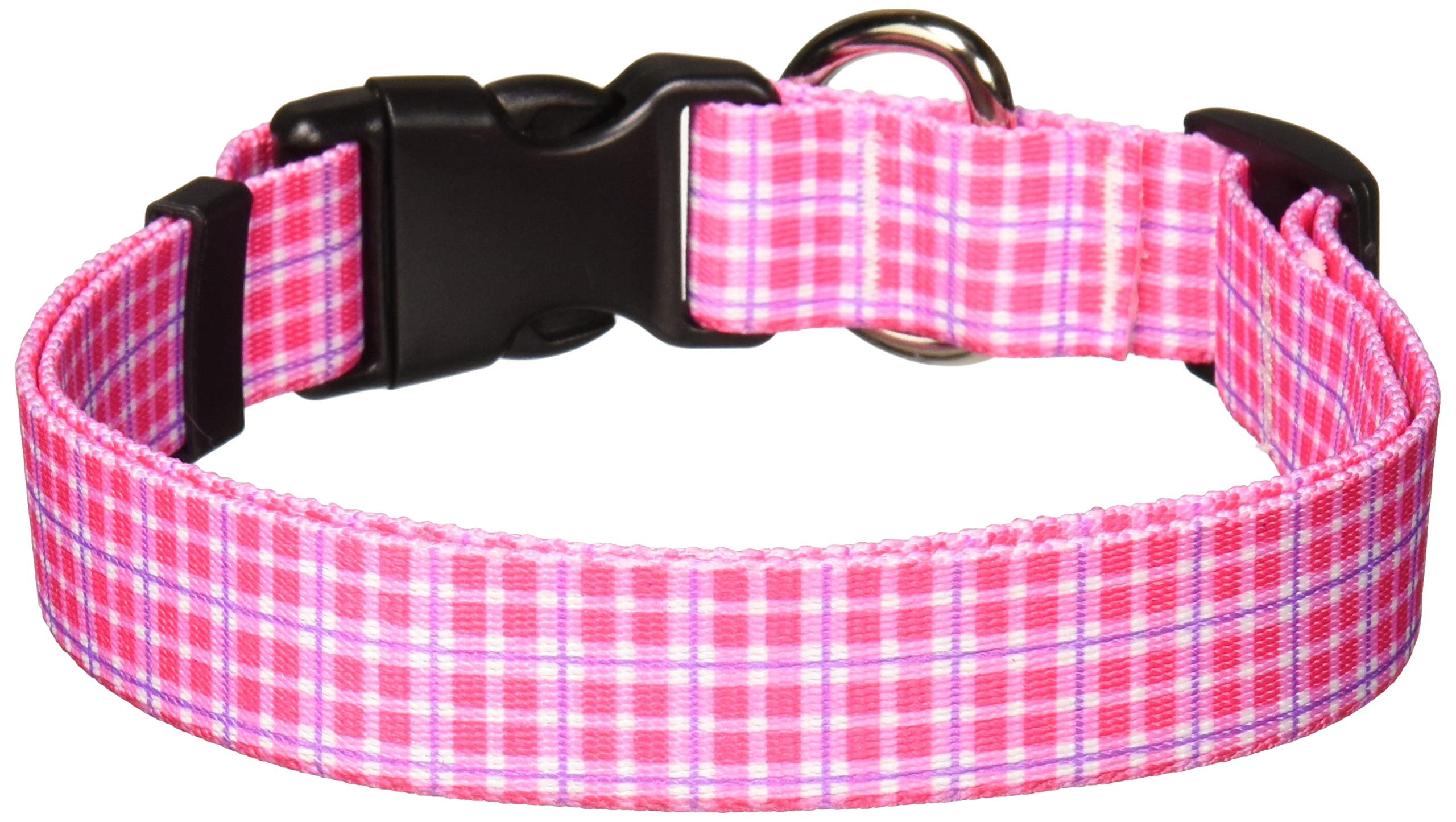 Yellow Dog Design Preppy Plaid Pink Dog Collar, Large-1'' Wide fits Neck Sizes 18 to 28''