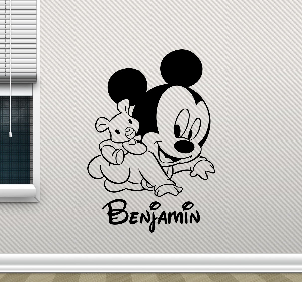 Personalized mickey mouse wall decal custom name walt disney cartoons vinyl sticker baby girl boy customized personal kids room wall art design bedroom