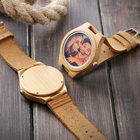 Amazon.com: Custom Engraved Wooden Watches for Men,Kenon Customized Real Leather Sport Wood Watch with Photo Personalized Gift for Men and Women: Kevin ...