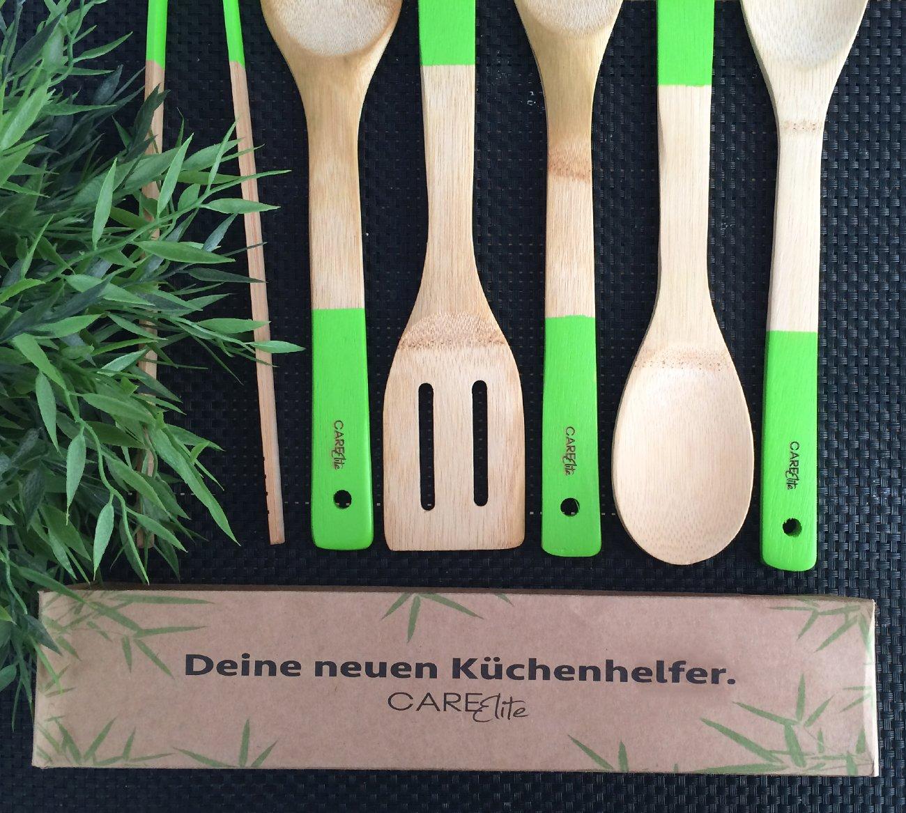 6er-Set Küchenhelfer aus Bambus-Holz ♻ Nachhaltige grüne ...