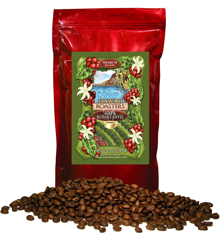 Hawaii Roasters 100 Percents Kona Coffee, Medium Roast, Whole Bean, 14 Ounce Bag by Hawaii Roasters
