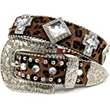 Western Peak Western Leopard Print Hair Clear Cross and Diamond Concho Rhinestone Belt