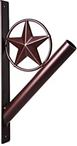 "EcoRise Flag Pole Holder - Texas Rustic Iron Star Bracket Mount Outdoor Wall Décor for House, Strong and Rust Free Coated, 1-1/8"" Inner Diameter (Brown)"