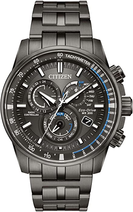 1ff0d282b0c Men s Citizen Perpetual Chrono A-T Charcoal Grey Dial and Stainless Steel  Bracelet Watch AT4127-52H