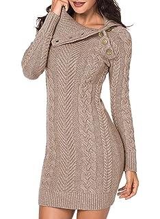 bc8b1b8f79d Sidefeel Women Asymmetric Buttoned Cable Knit Bodycon Mini Sweater Dress  Jumper