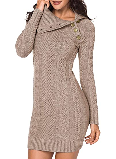 Dresses for Thanksgiving dinner: Sidefeel Women Asymmetric Buttoned Cable Knit Bodycon Mini Sweater Dress Jumper