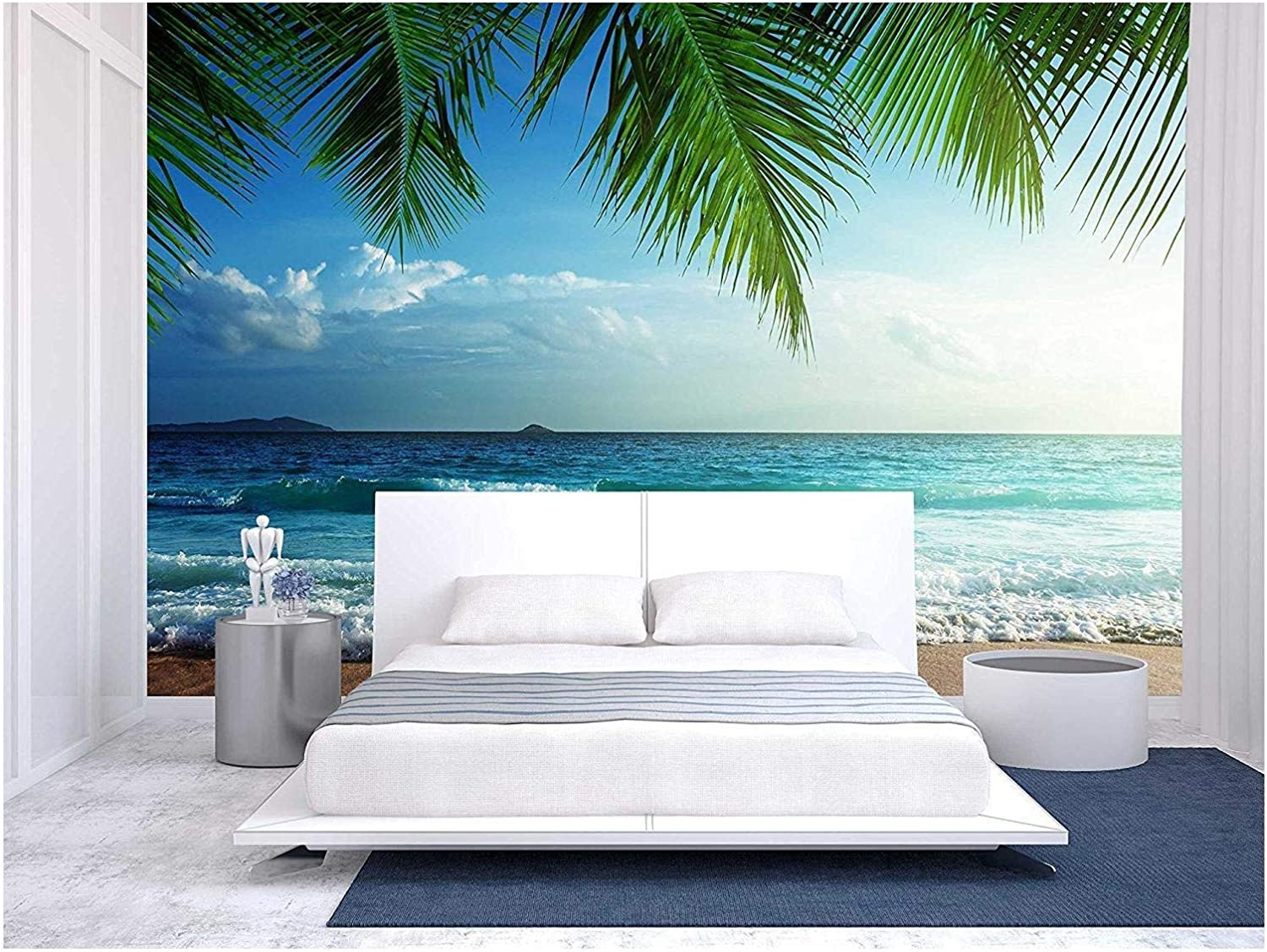 wall26 - Sunset on Seychelles Beach - Removable Wall Mural | Self-Adhesive Large Wallpaper - 66x96 inches