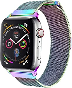CoolAxesoriz WristBand 38mm/40mm, Stainless Steel Mesh Milanese Wristband Loop Magnet Band Compatible with iWatch Series 4/3/2/1 (Magic Pink)