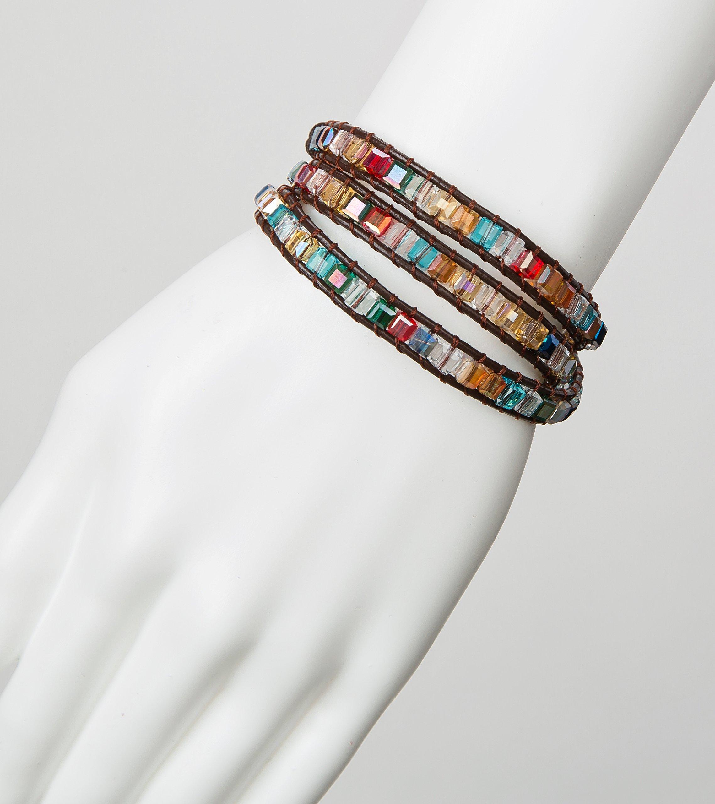 SPUNKYsoul 3 Wrap Dazzling Multi Color Crystal Leather Bracelet Collection by SPUNKYsoul (Image #6)