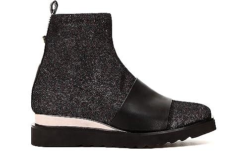 Caf Noir EC912 Zapatos Negros Mujer Botines Botines Medio Tejido elástico: Amazon.es: Zapatos y complementos