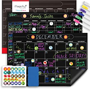 Magnetic Behavior Chalkboard Rewards Chore Chart and Dry Erase Calendar Set, 12 x 17 Inch Reusable Responsibility Refrigerator Reward Incentive Magnets for Multiple Kids with Markers and Icons