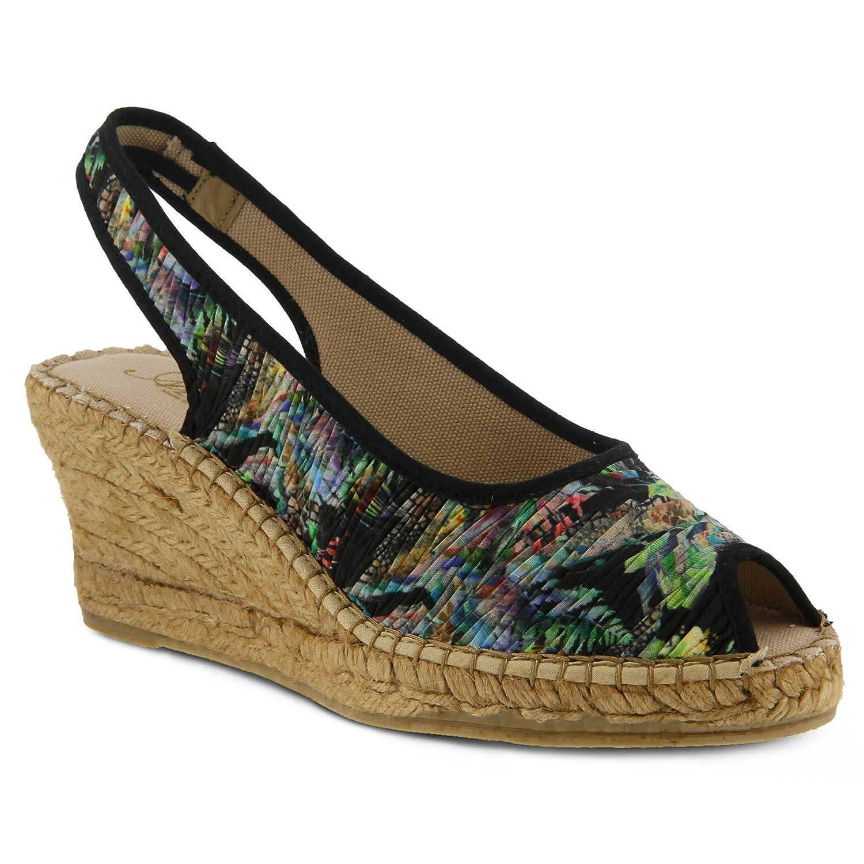 Women's Azura gweneth Sandal  Color Black Multi  Women's Espadrille Peep-Toe Wedge Sandal