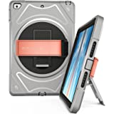 SUPFIVES iPad 9.7 2017 Case, 360 Degree Rotation Shock Proof with Built-in Stand and Leather Hand Strap for New iPad 9.7 2017(Gray&Black)