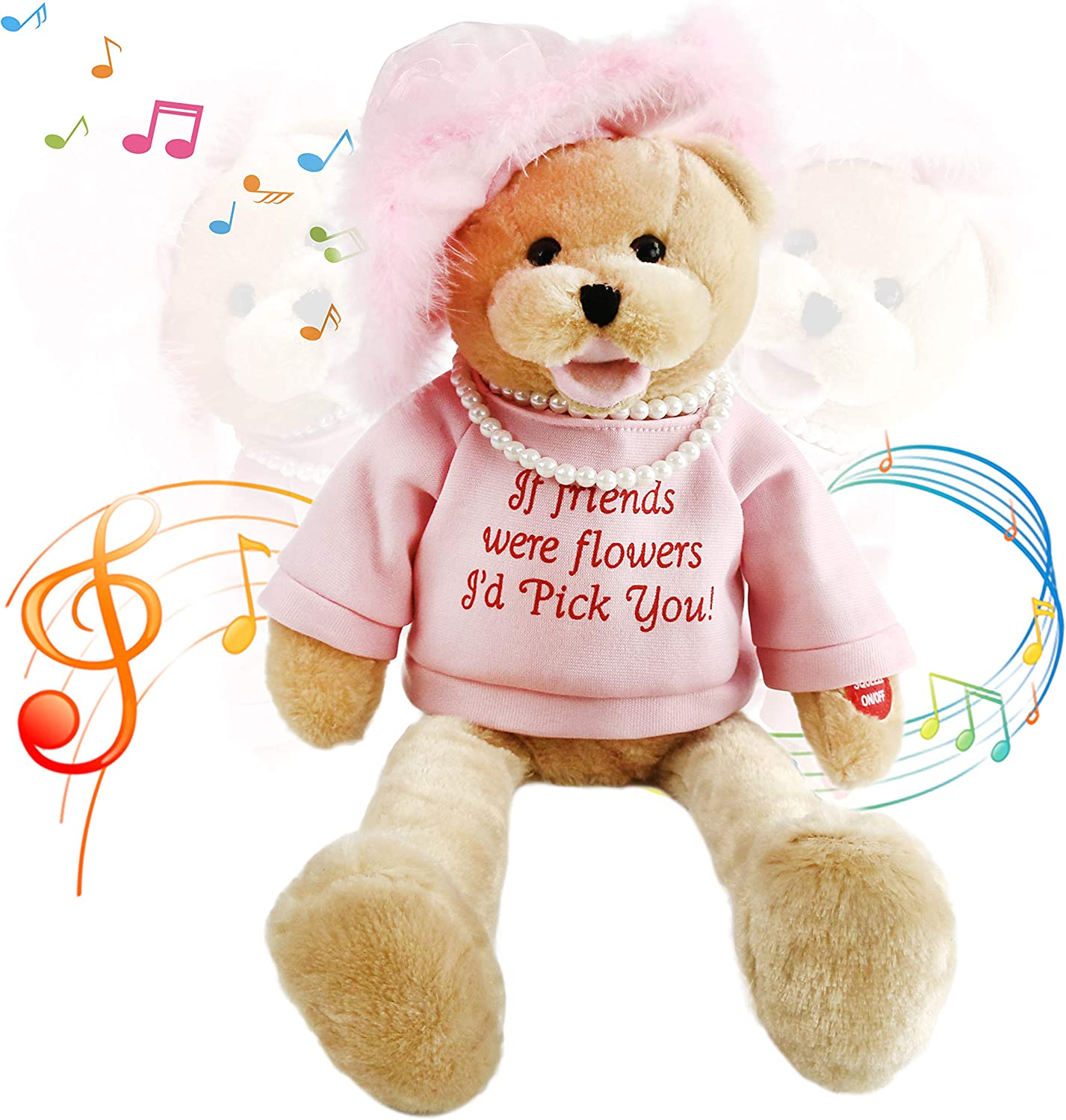 Amazon Com Houwsbaby Musical Teddy Bear With Pearl Sings That S What Friends Are For Interactive Stuffed Animal Shaking Head Animated Plush Toy Gift For Kids Toddlers Mother S Day Birthday 20 Pink Toys
