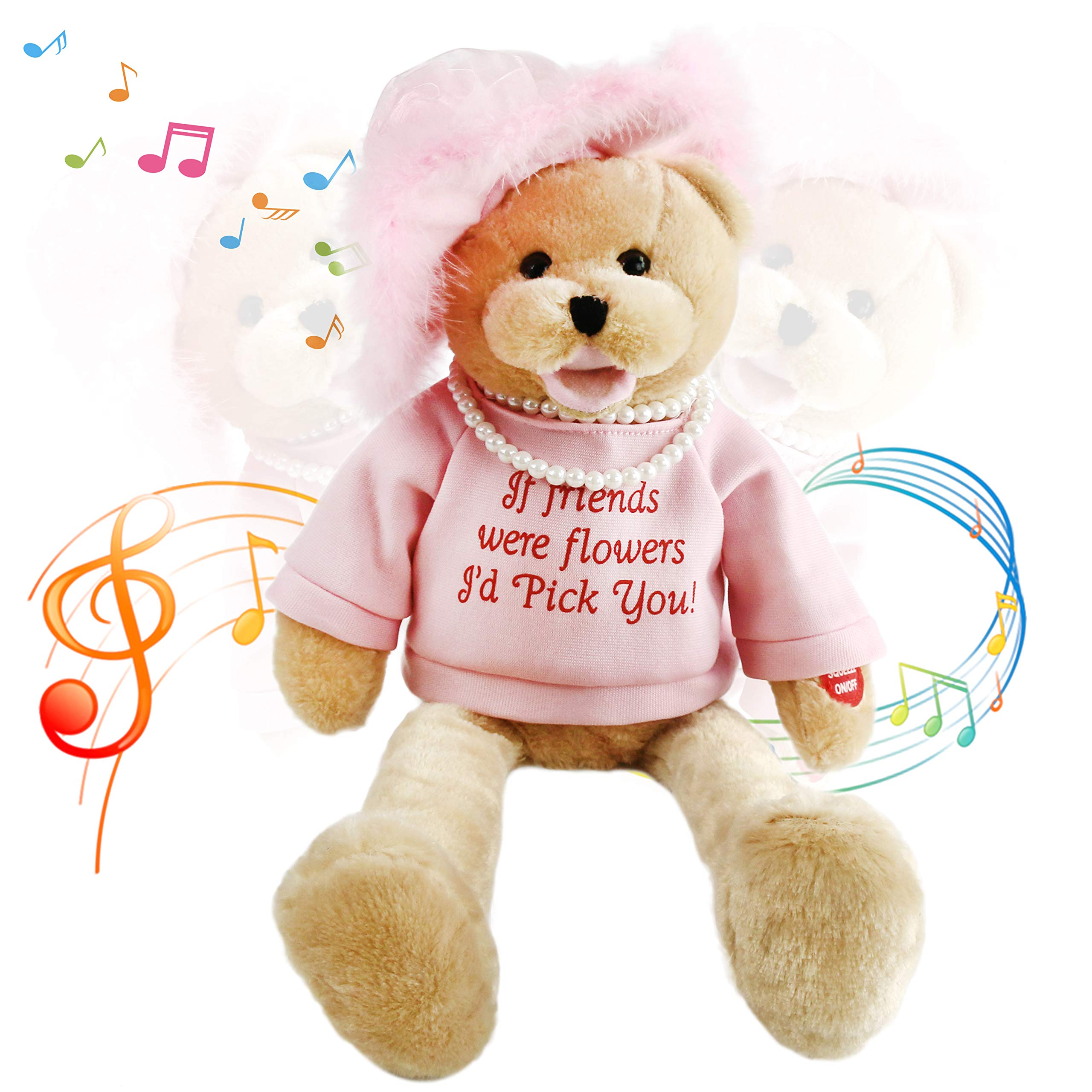 Houwsbaby Musical Teddy Bear with Pearl Sings ''That's What Friends are for'' Interactive Stuffed Animal Shaking Head Animated Plush Toy Gift for Friendship, 20 inches(Pink) by Houwsbaby