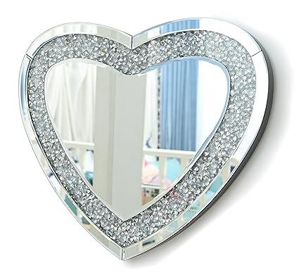 Richtop specchio da parete tripla a forma di cuore con glitter finti ...