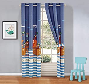 Better Home Style Printed Fun Multicolors Pirates Ships Sea Ocean Design Kids/Boys/Toddler Room Window Curtain Treatment Drapes 2 Piece Set with Grommets (Pirates Blue)
