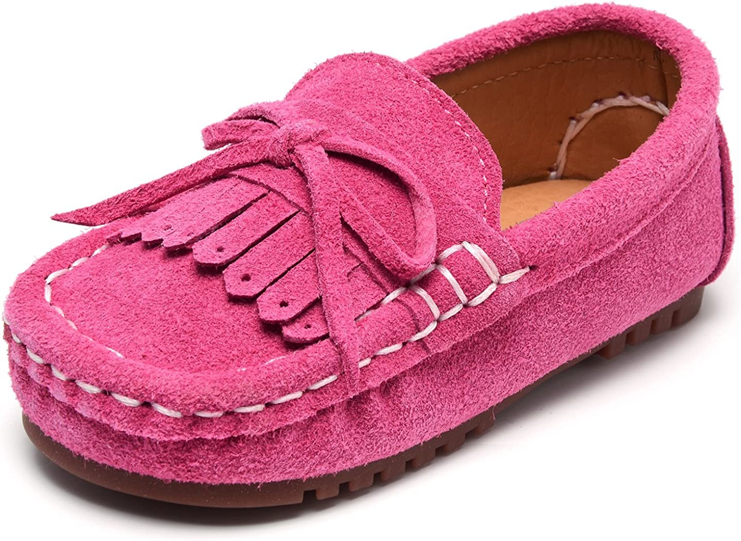 UBELLA Boys Girls Suede Leather Slip-on Loafers Kids Boat Dress Shoes Flats