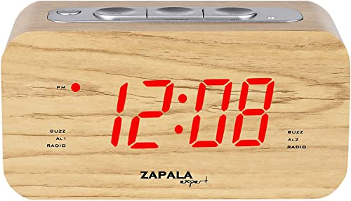 ZAPALA expert Wake-Up Alarm Clock with Radio for Bedside or Kitchen, Big Display, Dual Alarm, Sleep Snooze Function, FM Radio with 10 Preset Station, Brightness Setup, Wooden Cabinet, Battery Backup