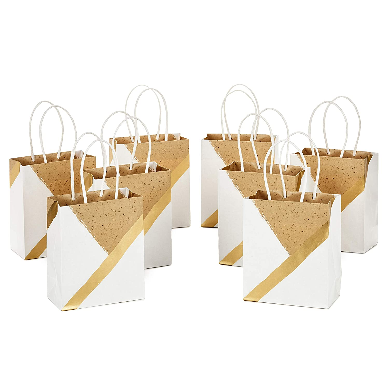 Pack of 8 for Birthdays, Weddings, Christmas, Hanukkah, Baby Showers, Bridal Showers and More White and Kraft Hallmark 6 Small Paper Gift Bags