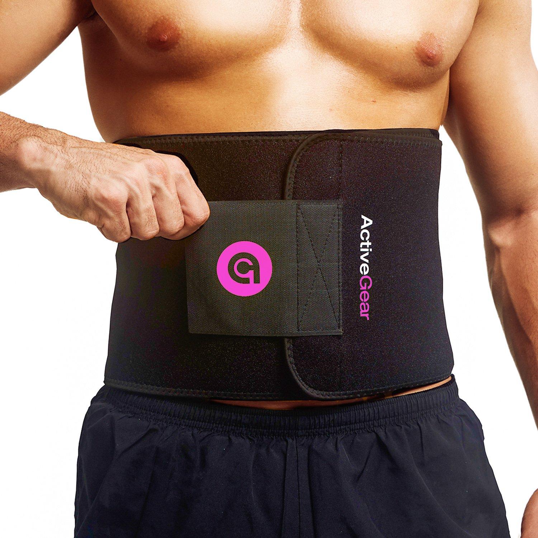 ActiveGear Premium Waist Trimmer Belt Slim Body Sweat Wrap for Stomach and Back Lumbar Support (Pink, Medium: 8'' x 42'')