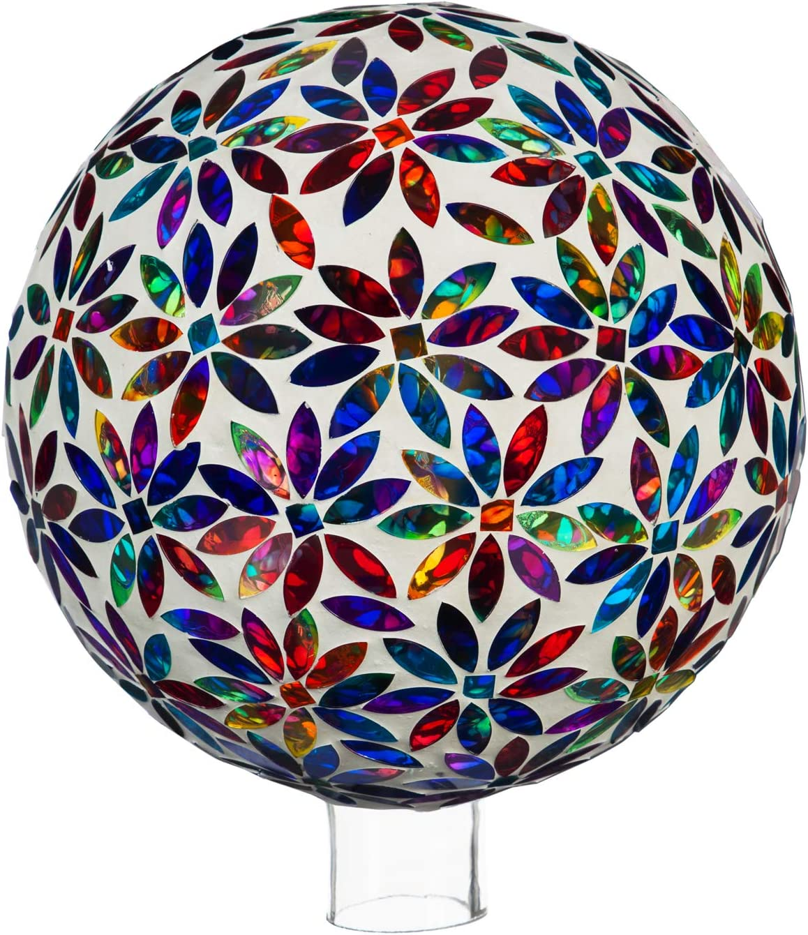 Evergreen Garden Beautiful Multi Colored Flowers Mosaic Glass Gazing Ball - 10 x 10 x 12 Inches Fade and Weather Resistant Outdoor Decoration for Homes, Yards and Gardens