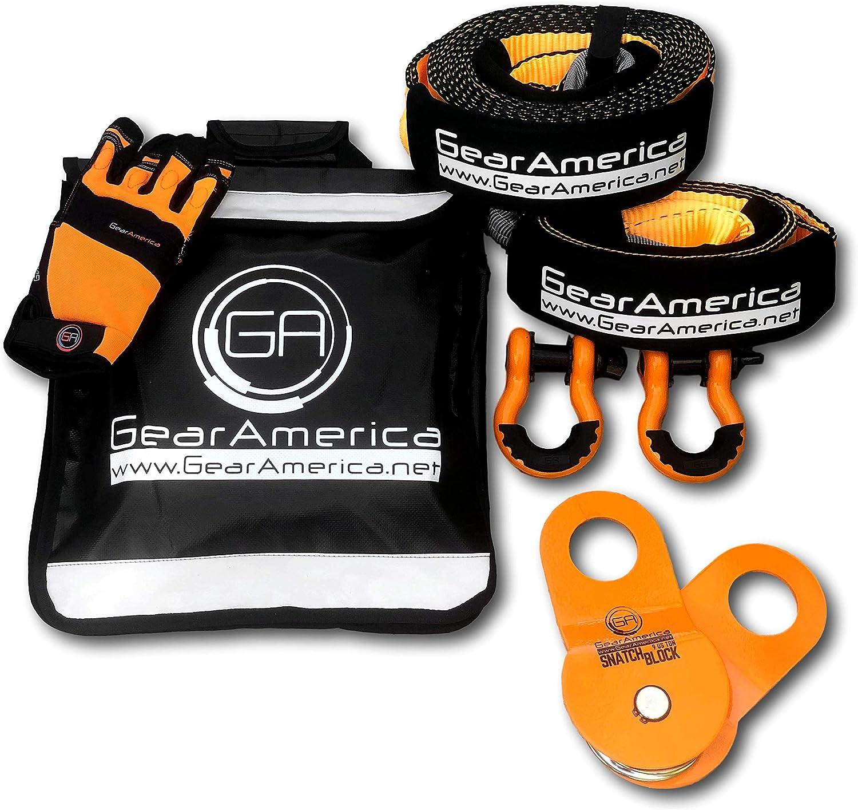 Kit de Recuperación Off-Road GearAmerica | Correa de remolque + Protector de árbol + Bloque de arranque + Grilletes con anilla en D naranja + Bolso amortiguador Winch Line + Guantes | Accesorios 4x4