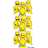Emoji Drawstring 16 x 13 Inch Backpack Bags with Assorted Emoticons Perfect for Goody Bags, Party Favors & Back to School Supplies