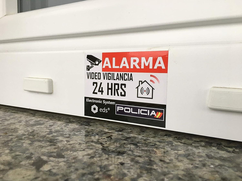 Pegatinas de videovigilancia de Calidad Profesional. Comercio Edificio Pegatinas disuasorias Video Vigilancia Alarma Policia x8 Antirrobo para Casa Garaje Egero