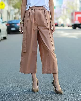 The Drop Pantalón culotte suelto de talle alto en color caramelo para mujer por @paolaalberdi