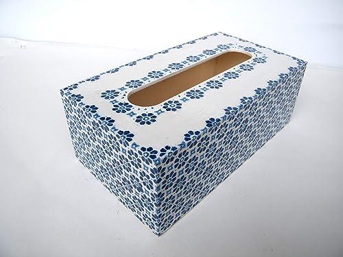 Caja de pañuelos, Porta Toallitas Faciales Caja de Madera Rectangular Dispensador de Papel Servilletas Toallitas Azul 25 x13 x 8 cm: Amazon.es: Handmade