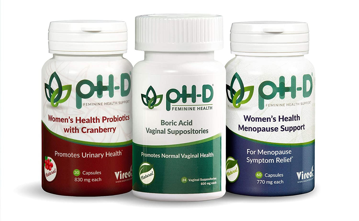 pH-D Feminine Health Support by Vireo, Boric Acid Vaginal Suppositories,  Bottle of 24 (600mg)