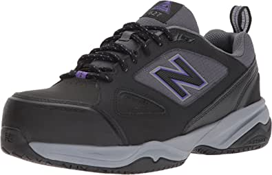 New Balance Women's 627v2 Work Training Shoe, Black/Purple, 7.5 D US