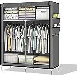Intirilife – système d'armoire pliable refermable DIY avec penderie et solutions de rangement étagère armoire à vêtements armoire en tissu commode casier de dimension: 108 cm x 170 cm x 45 cm en GRIS-PIERRE