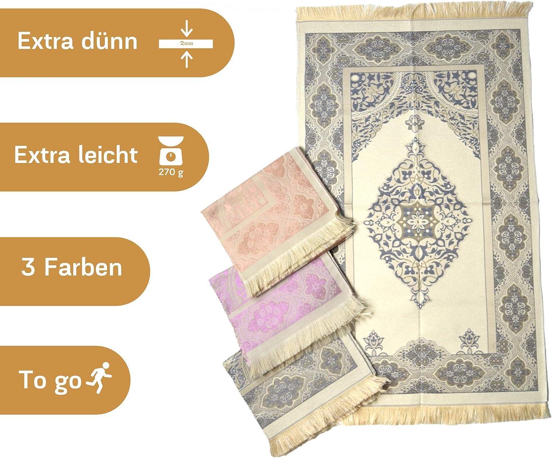 Namaz-LIK Seccade Salah Sejadah Imanpaper Muslimische Gebetsteppich Gebets Matte Wei/ß-Beige Islamic Prayer mat Rug 1,20x0,68m f/ür das Gebet im Islam- Qualitativ verpackt