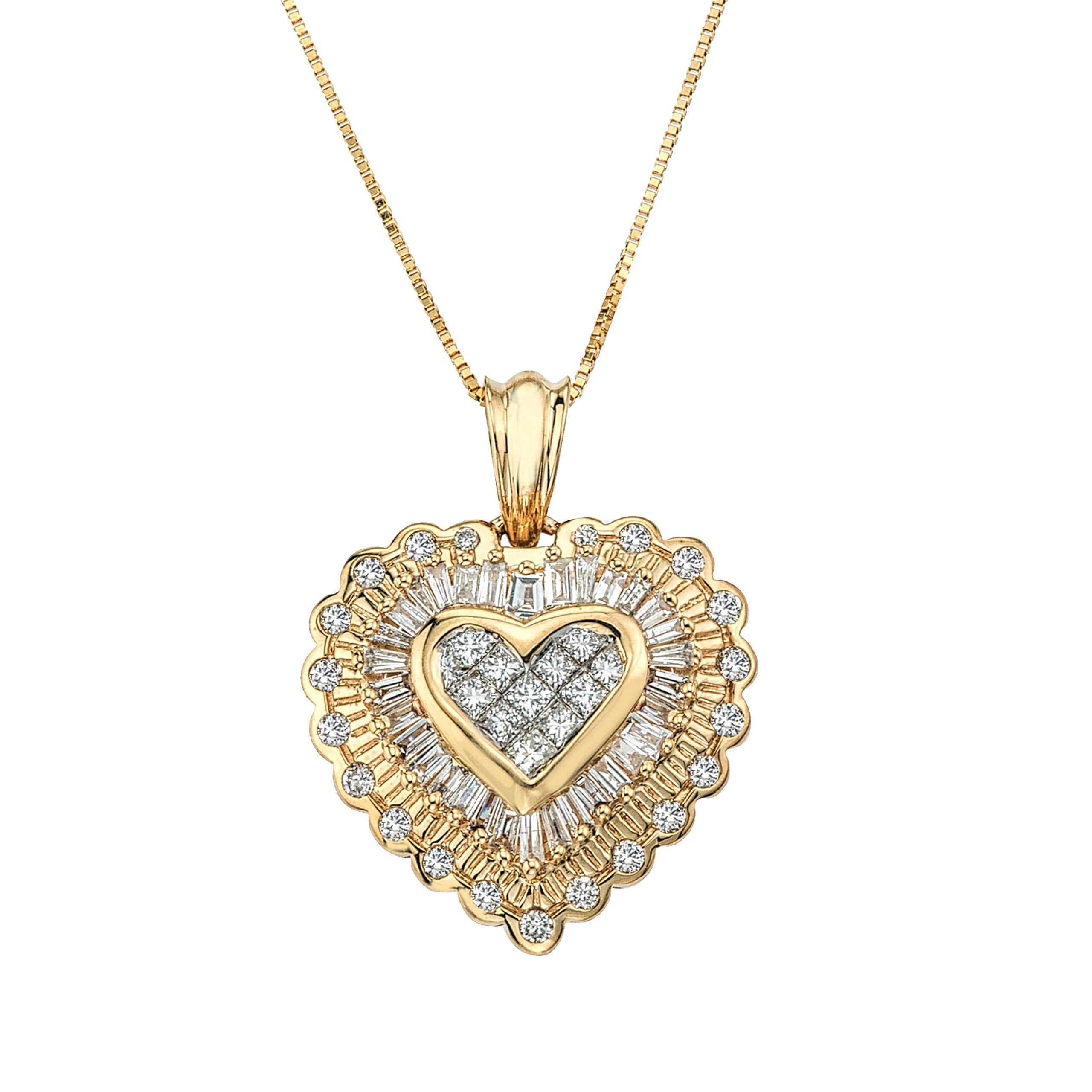1ct Diamond Heart Pendant in 14K Yellow Gold