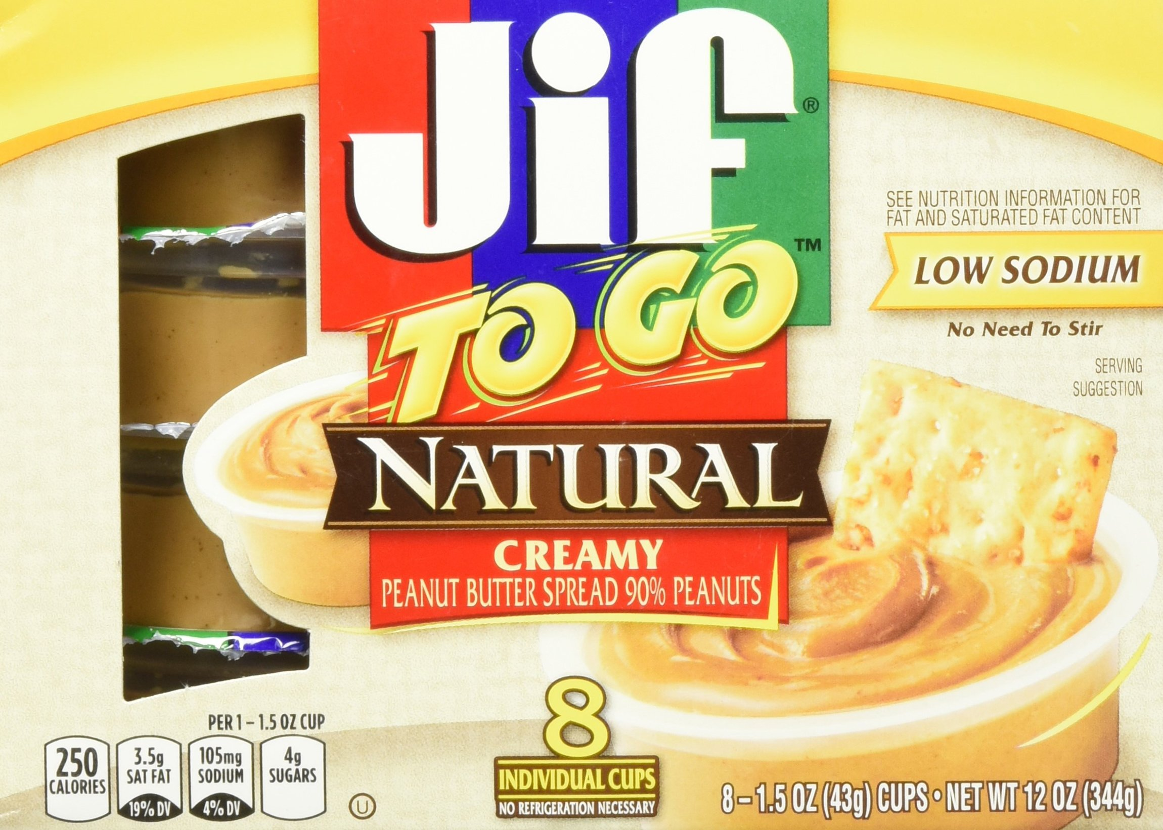 Jif to Go Natural Creamy Peanut Butter 8 individual cups (Pack of 3)