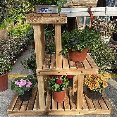 Simhoo Pine Wooden Plant Stand Multi Layer Flower Pot Shelf/Shelving Rack Indoor and Outdoor Plant Holder Display in Garden Balcon Patio or Livingroom: Garden & Outdoor