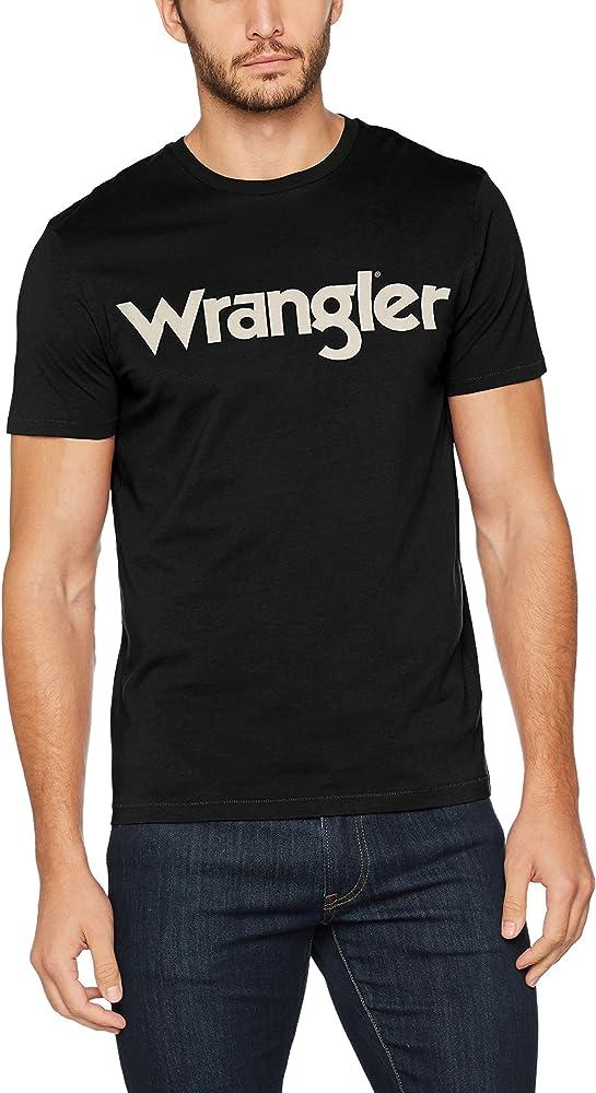 Wrangler SS Logo tee Camiseta, Negro (Black 01), Small para Hombre: Amazon.es: Ropa y accesorios