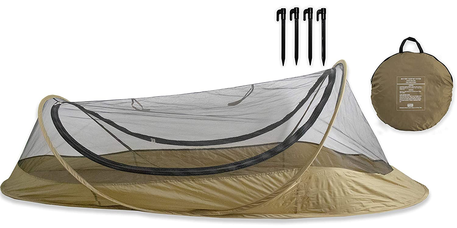 USGI Industries Bivy Tent Sleeping Net System for Outdoors, Camping, Home and Flying Insect Protection (Dark Earth) [並行輸入品] B07R4TX4Y3