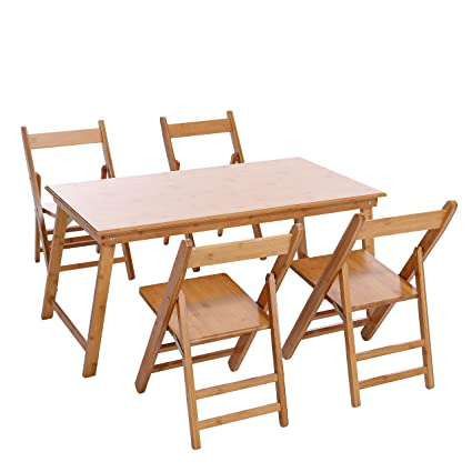 Bon UNICOO   Bamboo Rectangular Folding Table With 4 Folding Chairs, 5 Piece Kids  Table And