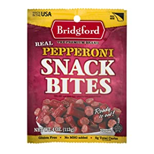 Bridgford Snack Bites, High Protein, Made With 100% American Beef & Pork, Gluten Free, Pepperoni, 4 oz, Pack of 3