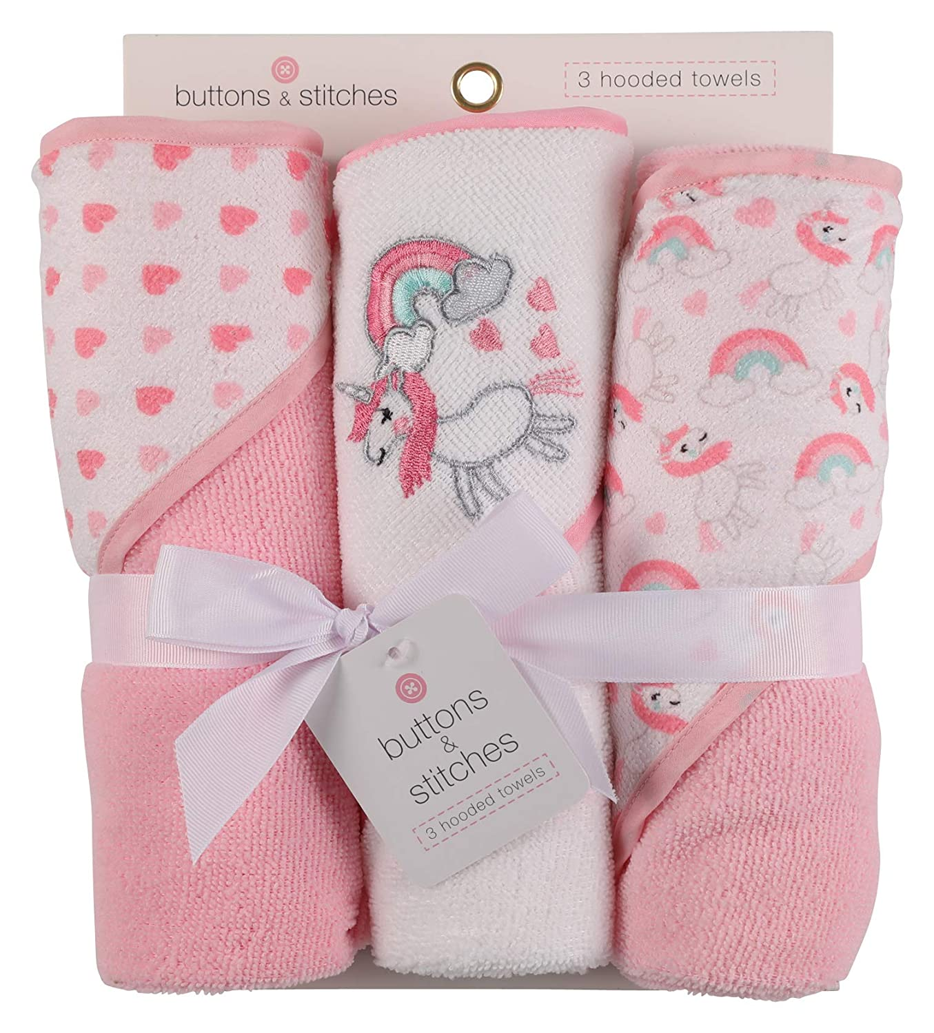 Buttons and Stitches 3 Piece Infant Hooded Towel Unicorn Prints